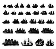 Types of sailboats. 29 different types of sailboats.vector silhouette isolated on white Royalty Free Stock Photos