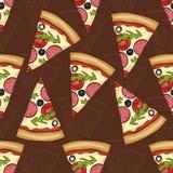 Types sans couture du modèle deux de salami de pizza illustration de vecteur