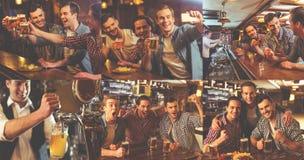 Types se reposant dans le bar image stock