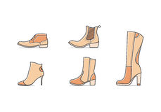 Types of shoes. Set of different types of footwear. Five icons kinds of shoes . Brown signs. Vector illustration of woman fall and winter shoes Royalty Free Stock Photo