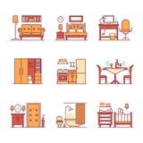 Types signes de pièce à la maison de meubles réglés Photos stock