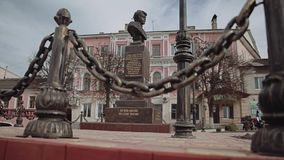 Types of small town 10. Views of a small city. bridge. hotel. People are walking in the park. Types of small river. The center of a small town. the city`s stock footage