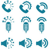 Types of sound from devices icon set Royalty Free Stock Photography