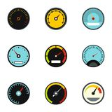 Types of speedometers icons set, flat style Stock Photography