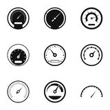 Types of speedometers icons set, simple style Stock Photography