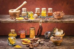 Types of spices, colors and flavors. Still life stock images
