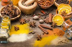 Types of spices, colors and flavors. Still life royalty free stock images