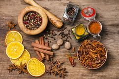 Types of spices, colors and flavors. Still life stock photography