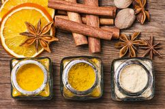 Types of spices, colors and flavors. Still life royalty free stock image