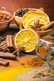Types of spices, colors and flavors. Still life royalty free stock photos