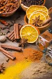 Types of spices, colors and flavors. Still life royalty free stock photo
