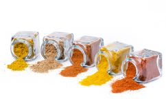 Types of spices, colors and flavors royalty free stock photos