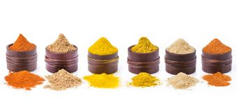 Types of spices, colors and flavors stock image