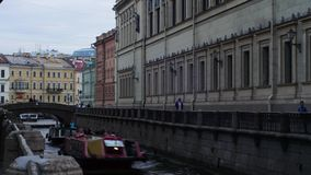 Types of St. Petersburg zimnyaya kanavka, Winter Canal, timelapse, boats floating on a channel. Zimnyaya kanavka, Winter Canal, timelapse, boats floating on a stock footage