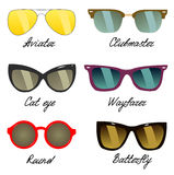 Types of sunglasses Stock Photography