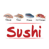 Types of sushi Stock Images