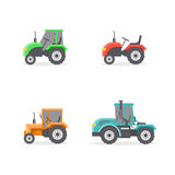 Types of tractors. Vector set of types of tractors. Four icons of different tractor. Agricultural machinery Royalty Free Stock Photo
