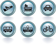 Types of transport. Created in glass style Stock Photos