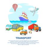 Types of transport concept, cartoon style Stock Photography