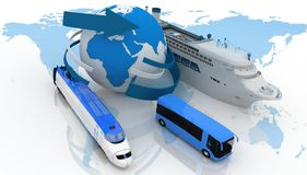 Types of transport for a cruise Royalty Free Stock Photos