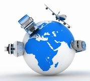 Types of transport on a globe Stock Photo