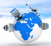 Types of transport on a globe Royalty Free Stock Photo