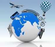 Types of transport on a globe. Concept of international tourism. Stock Photography