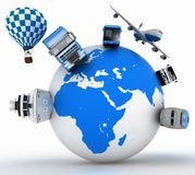 Types of transport on a globe. Concept of international tourism. Stock Photo