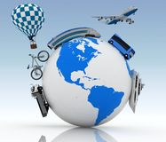 Types of transport on a globe Royalty Free Stock Image
