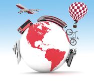Types of transport on a globe. Concept of international tourism Stock Photography