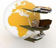 Types of transport and globe Stock Image