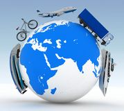 Types of transport on a globe Stock Photos
