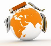 Types of transport on a globe. Royalty Free Stock Photography