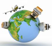 Types of transport on a globe Stock Photography