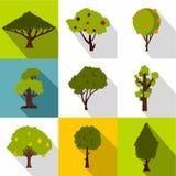 Types of trees icons set, flat style Royalty Free Stock Photos