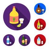 Types van alcohol vlakke pictogrammen in vastgestelde inzameling voor ontwerp Alcohol in illustratie van het de voorraadweb van h royalty-vrije illustratie