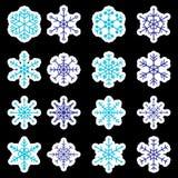 16 types van blauwe en witte sneeuwvlokkenstickers Stock Foto