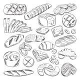 Types van gezond bakkerijvoedsel Croissant en vers brood Hand getrokken vectorbeelden stock illustratie