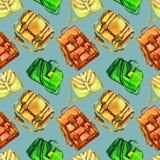 Types van handtassen: het zadel, de boodschapper, de artsen en de rug in eigen zak steken zak, naadloos patroon op zachte grijze  royalty-vrije illustratie