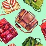 Types van handtassen: het zadel, de boodschapper, de artsen en de rug in eigen zak steken zak, naadloos patroon op zachte groene  vector illustratie