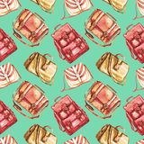 Types van handtassen: het zadel, de boodschapper, de artsen en de rug in eigen zak steken zak in sepia rode kleurenpalet op zacht stock illustratie