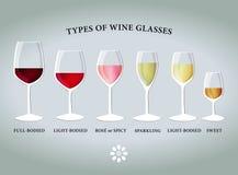 Types van wijnglazen stock foto's