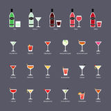 Types of vermouth and cocktails with vermouth, set of flat icons Stock Photos