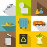 Types of waste icons set, flat style Royalty Free Stock Image