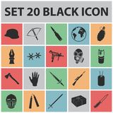 Types of weapons black icons in set collection for design.Firearms and bladed weapons vector symbol stock web. Types of weapons black icons in set collection for Stock Photo