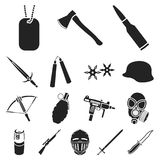 Types of weapons black icons in set collection for design.Firearms and bladed weapons vector symbol stock web. Types of weapons black icons in set collection for Royalty Free Stock Photo