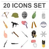 Types of weapons cartoon icons in set collection for design.Firearms and bladed weapons vector symbol stock web. Types of weapons cartoon icons in set collection Stock Photo