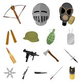 Types of weapons cartoon icons in set collection for design.Firearms and bladed weapons vector symbol stock web. Types of weapons cartoon icons in set collection Royalty Free Stock Photo