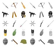 Types of weapons cartoon,mono icons in set collection for design.Firearms and bladed weapons vector symbol stock web vector illustration