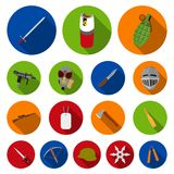 Types of weapons flat icons in set collection for design.Firearms and bladed weapons vector symbol stock web. Types of weapons flat icons in set collection for Stock Images
